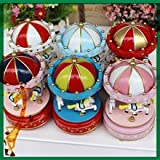 Fairground Music Box Carousel Classic English Child and Baby Lullaby Sleeper with LED NIGHT LIGHT by Little Penguins with FREE TOY GIFT