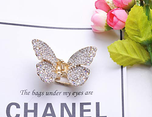 New Style Multi-Color Crystal Rhinestones Butterfly Hair Claw Clip