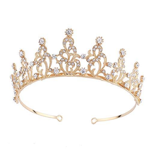 Santfe Bridal Wedding Prom Rhinestone Crystal Crown Hairband Headband Tiara Hair Jewelry for Womens Girls (Gold-2)]()