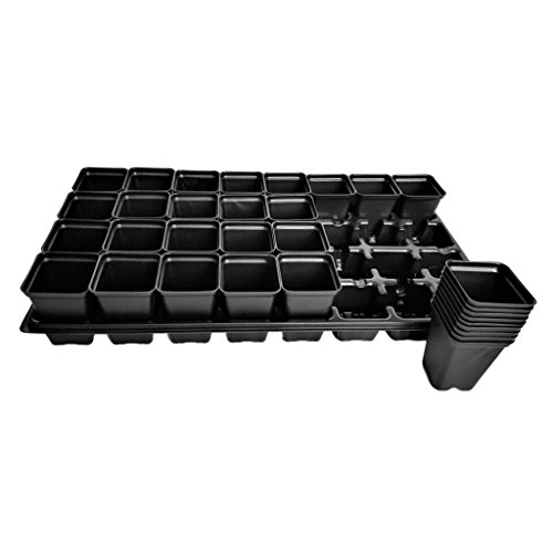 Extra Strength 32 Cell Seedling Starter Trays w/ Inserts, 50 Pack, for Seed Germination, Plant Propagation, Soil & Hydroponics, Growing Trays, Planting Starter Plugs by Bootstrap Farmer by Bootstrap Farmer