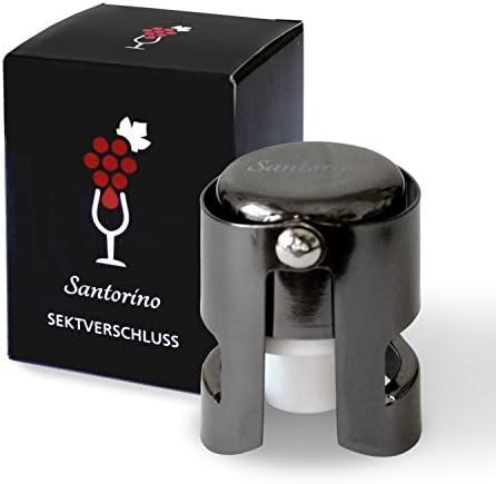 Santorino® Tapón de Botella de Vino Espumoso | Sellador de Champán Premium | Acero Inoxidable Oscuro | para tu Botella de Prosecco o Cava Abierta | Resellable | Mantener las Burbujas
