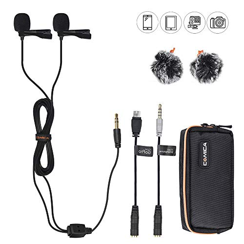 VIEWFLEX Comica CVM-D02 Dual-head Lavalier Lapel Microphone Omnidirectional Condenser Clip-on Microphone for Canon Nikon Sony DSLR Cameras, iPhone Smartphone, GoPro 4/3+/3 Action Camera(98inch)