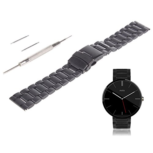 VIMVIP 22mm Stainless Steel Watch Band Strap with Spring Bars Tool for Motorola Moto 360 II 2nd Second Generation Smart Watch 2015 Men's 46mm