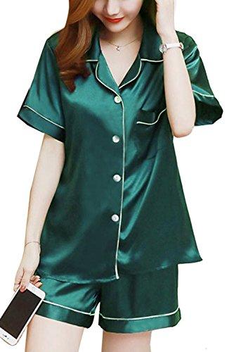 Pc Ancora Green Le 2 Pigiamoni Corte E A Donne Bluse Nimpansa I Maniche I Pigiama qYxwTUf