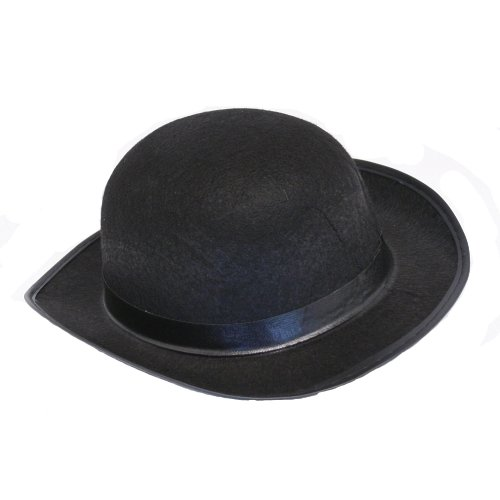 MyPartyShirt Men's Roaring 20's Black Felt Derby Light Bowler Top Hat Costume Accessory]()