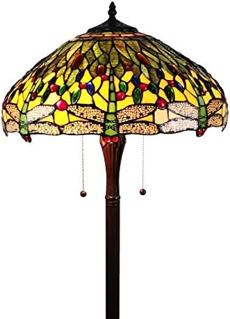 Amora Lighting Tiffany Style Floor Lamp Standing 62 Tall Stained Glass Yellow Red Green Floral Antique Vintage Light Decor Bedroom Living Room Reading Gift AM1028FL18B, 18 Inches Diameter
