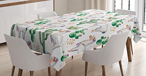 Cactus Decor Tablecloth by Ambesonne, Hot South Desert Plant