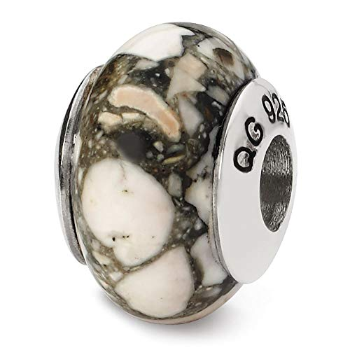 Sterling Silver Reflection White Mosaic Magnesite Stone ()