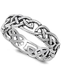 Sterling Silver Celtic Wicca Pagan Eternity Ring (Sizes 2-15)