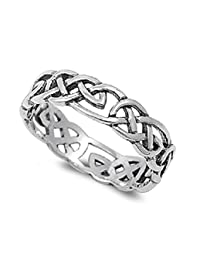 Celtic Wicca Pagan Eternity Ring Sterling Silver 925 (Sizes 4-15)