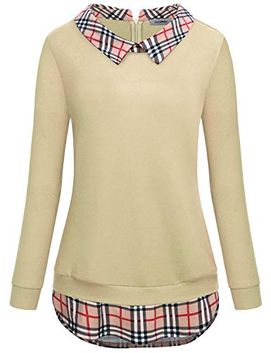 (Tunic Sweatshirts for Women Plus Size Clothing Patchwork Peter Pan Collar Scallop Hem Layered Look Flowy Loose Form Fitting Tops Juniors Long Sleeve Pullover Sweater Blouse Shirts Beige XXL)