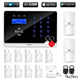 ERAY GSM 3G WiFi Home Security Alarm System, Wireless Burglar Alert SMS Calling Alarms with 9 Door Sensors, 2 Motion Detectors, 2 RFID Cards and 2 Remote Control-Battery Included (B)