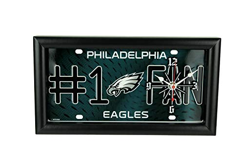Good Tymes Enterprises, Inc. NFL Philadelphia Eagles Number 1 Football Fan License Plate Mantel or Wall Clock