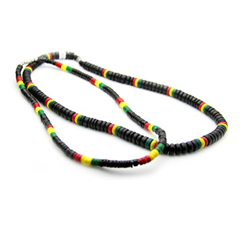 JewelryVolt Buy 1 Get 1 - Beaded Rasta Necklaces,Clam Shell Wooden Beads and Coconut Beads Black Red Yellow and - Coconut Jewellery Shell
