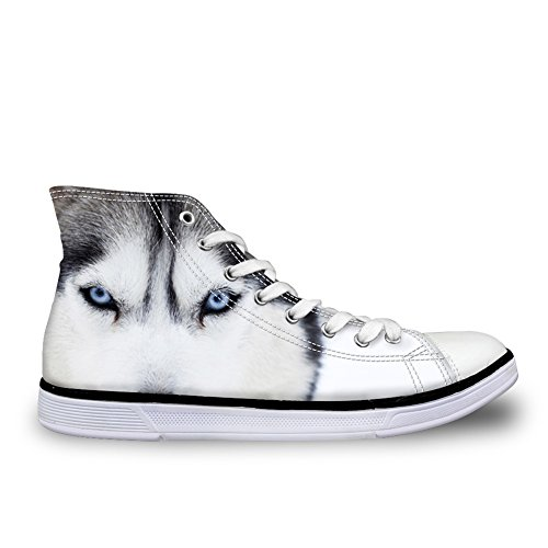 Hugs Idea Cool Animal White Wolf 3D Pet Dog Husky Printed Men Casual High Top Canvas Shoes Fashion Sneakers Us10