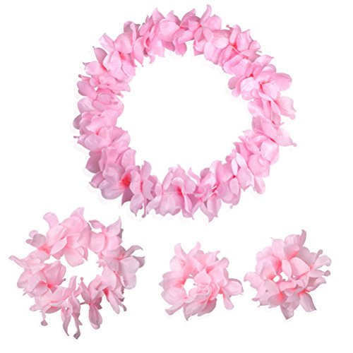 Pink Hawaiian Set (CISMARK Hawaiian Luau flower Leis Jumbo necklace bracelets headband)