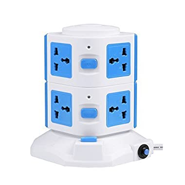 BasicWu Power Strip Multi Outlet Smart 6-Outlet with 4-USB Output Surge Protection Power Strip 4000W 110-250V for Home/Office Use, including 6.5 Feet(2.0 Meters) Cable (Blue and White)