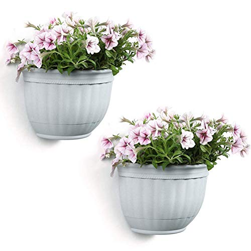T4U Resin Wall Planter Marble Gray Small Set of 2, Wall Mounted Garden Plant Flower Pot Basket Container Indoor Outdoor Use for Orchid Herb Aloe Succulent Cactus Home Office Porch Wall Decoration Gift