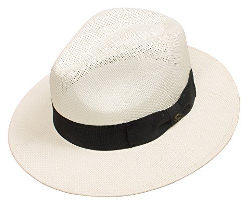 (DRY77 EpochLine Summer Cool Outback Panama Wide Large Brim Fedora Straw Hat Sun, Ivory, S/M)