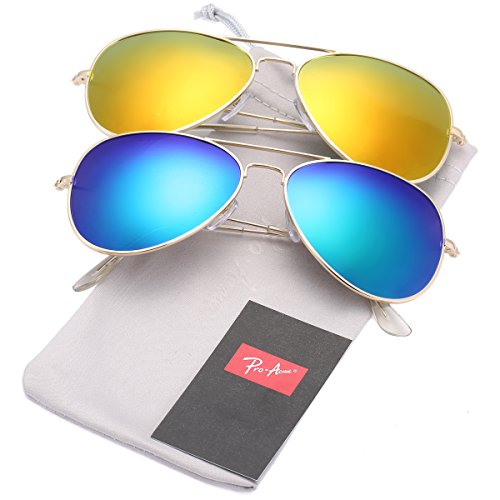 Pro Acme Classic Polarized Aviator Sunglasses for Men and Women UV400 Protection (2 Pairs) Gold Frame/Red Mirrored Lens + Gold Frame/Green Mirrored Lens
