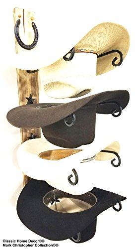 Mark Christopher Collection American Made Cowboy Hat Holder Charred Wood with Genuine Horseshoe
