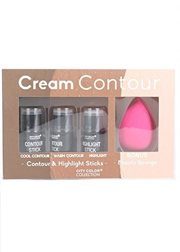 City Color 3 pcs Cream Contour & Highlight Sticks with bonus sponge (4 pcs set)