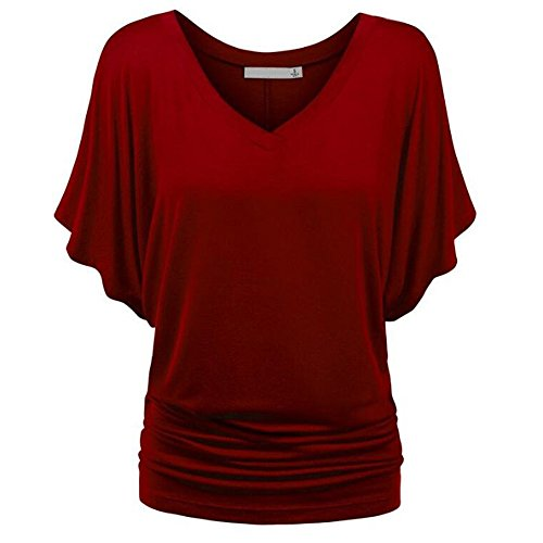 Womens Tops Plus Size Women's Bat Short Sleeve Solid A-Line Blouse Tunic Top Casual Tee Shirts Clearance]()