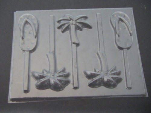 Flip Flops & Palm Trees Chocolate Candy Lollipop Mold ()