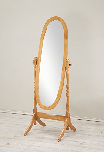 Roundhill Furniture Traditional Queen Anna Style Wood Floor Cheval Mirror, Oak (Cherry Oak Swing)