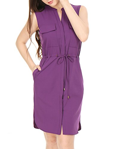 (Allegra K Women's Single Breasted Drawstring Sleeveless Dress Purple L)