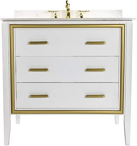 JSG Oceana White Skylar Vanity with White Undermount Top & Pearl Oasis Undermount Sink