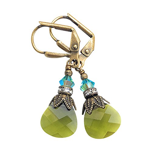 (HisJewelsCreations Olive Green Drop Earrings with Crystal from Swarovski)