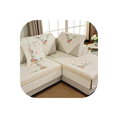 - Sofa Cover Embroidered Butterfly Sofa Covers Non-Slip Quilted Corner Sectional Slipcover One/Two/Three Seat Decoration,Creamy White 3,110X160Cm 1 Piece