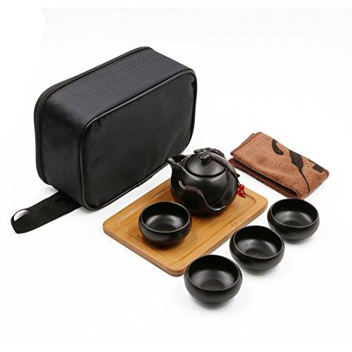 Portable Travel Kungfu Tea Set Handmade Chinese/ Japanese Vintage, Porcelain Teapot  4 Teacups  Bamboo Teatray  Storage Bag (Black)