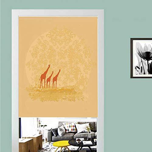 3D printed Magic Stickers Door Curtain,Apartment Decor,Giraffes in Retro Colored Safari Savannah Design Hot Wild Life Animal Boho Scenery,Orange Cream ,Privacy Protect for Kitchen,Bathroom,Bedroom(1