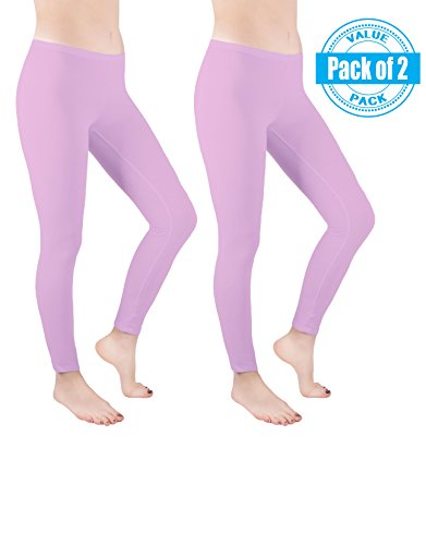 Sexy Basics Womens 2 Pack Stretch Cotton Full Length Footless Legging Tights (S 3-5, LIGHT PINK)