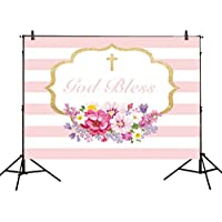 Allenjoy 8x6ft photography backdrops Baptism First Communion Christening floral Birthday God Bless Party baby shower banner photo studio booth background photocall