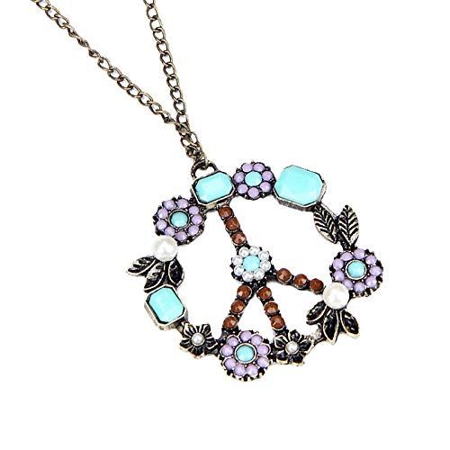 Onefa Bohemian Fashion Women Retro Pearl Peace Symbol Sweater Chain Necklace (Purple)