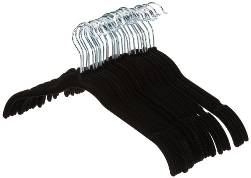 AmazonBasics Velvet Shirt/Dress Hangers - 30-Pack, Black