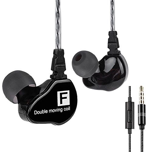 In-ear Headphones Dual Driver Deep Bass Earbuds, F910 Noise Cancelling Headphones Hifi Earphones Headset with Microphone and 3.5mm Jack for Smart Devices (Black with Mic) For Sale