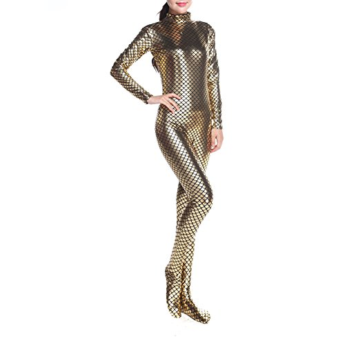 Muka Adult Long-Sleeve Unitard Bodysuit Dancewear Mermaid Costume - Golden,M ()