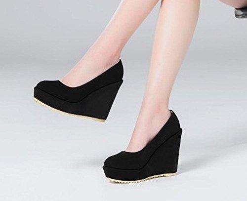 Pied De Charme Femmes Mode Plate-forme De Talon Haut Talon Pompes Chaussures Noir
