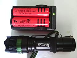 WindFire® Outdoor ZOOMABLE CREE Q5 LED Flashlight Torch 18650/AAA Battery Zoom Lamp Lighting Flashlight with 2x WindFire 18650 Rechargeable Batteries and Smart Charger by WindFire