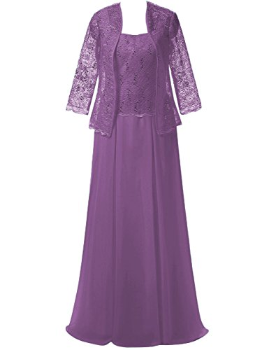 Chiffon Long Mother of The Bride Dresses Evening Prom Gowns Lace Jacket Maxi Formal Dress US 18W Lavender