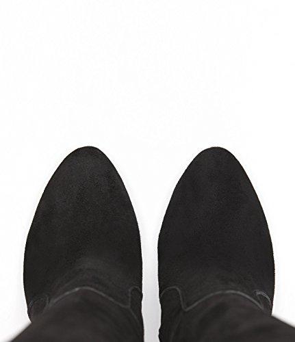 PoiLei Olivia - chaussure femme / classiques bottes en cuir à talon aiguille haut - avec bout rond / elegantes et sophistiquées noir