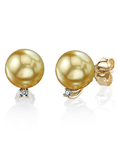 Golden South Sea Earrings - THE PEARL SOURCE 14K Gold 9-10mm Round Genuine Golden South Sea Cultured Pearl & Diamond Sasha Earrings Set for Women