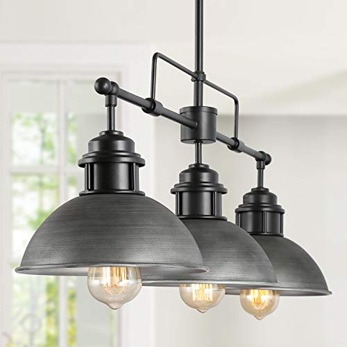 Black Farmhouse Chandelier, Rustic Pendant Lighting in Brushed Metal Finish, Linear Lighting Fixtures Hanging for Dining…