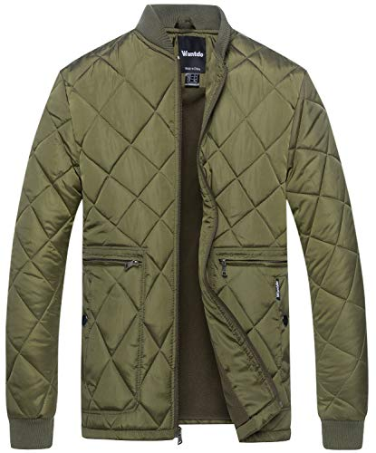 Wantdo Men's Quilted Bomber Jacket Warm Padded Outdoor Diamond Puffer Coat Army Green -