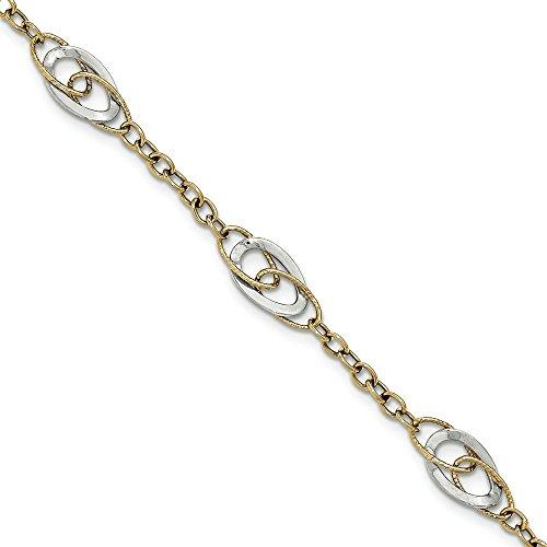 14 carats-Bicolore texturé et poli Bracelet fantaisie 7,5 cm-JewelryWeb