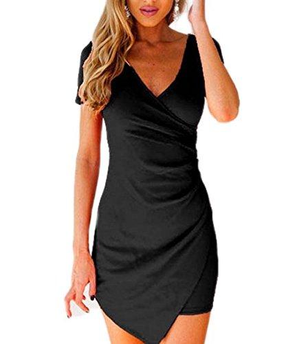 YABINA Women Sexy V-Neck Short Sleeve Bodycon Asymmetric Mini Dress (US8, Black)